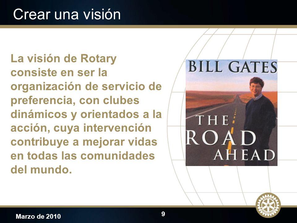 9 Marzo de 2010 Crear una visión La visión de Rotary consiste en ser la organización de servicio de preferencia, con clubes dinámicos y orientados a l