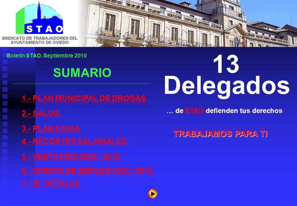 TRABAJAMOS PARA TI 13 Delegados 1.- PLAN MUNICIPAL DE DROGAS. SUMARIO … de STAO defienden tus derechosSTAO Boletín STAO. Septiembre 2010 2.- SALUS. 3.