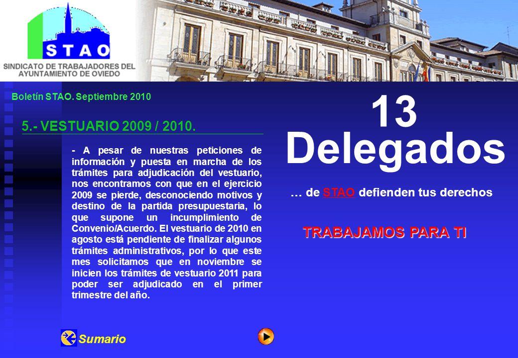 Boletín STAO. Septiembre 2010 5.- VESTUARIO 2009 / 2010.