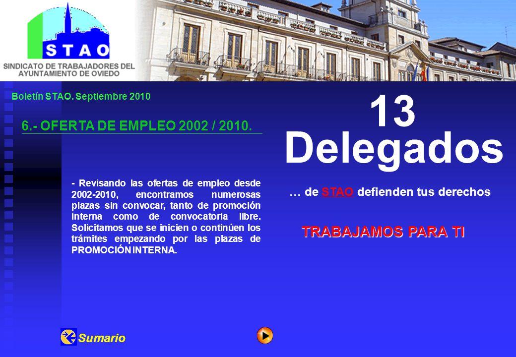 Boletín STAO. Septiembre 2010 6.- OFERTA DE EMPLEO 2002 / 2010. … de STAO defienden tus derechosSTAO 13 Delegados Sumario TRABAJAMOS PARA TI - Revisan