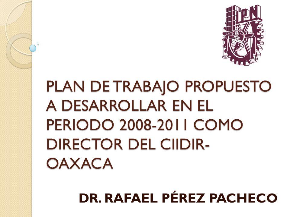 PLAN DE TRABAJO PROPUESTO A DESARROLLAR EN EL PERIODO 2008-2011 COMO DIRECTOR DEL CIIDIR- OAXACA DR. RAFAEL PÉREZ PACHECO