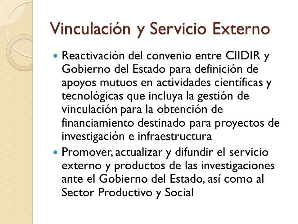 Vinculación y Servicio Externo Reactivación del convenio entre CIIDIR y Gobierno del Estado para definición de apoyos mutuos en actividades científica