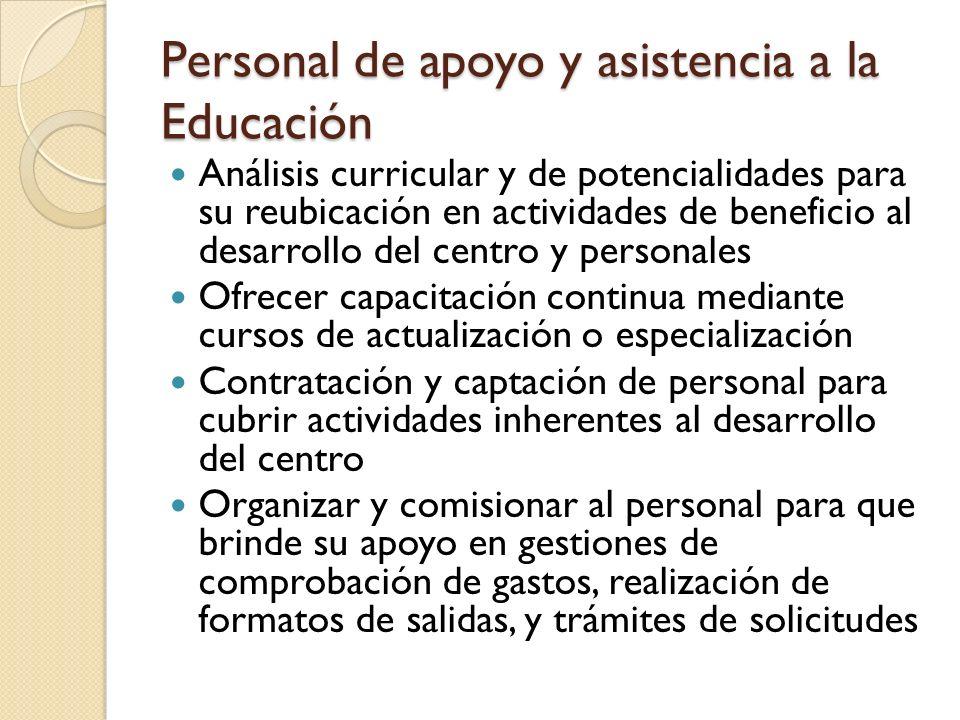Personal de apoyo y asistencia a la Educación Análisis curricular y de potencialidades para su reubicación en actividades de beneficio al desarrollo d