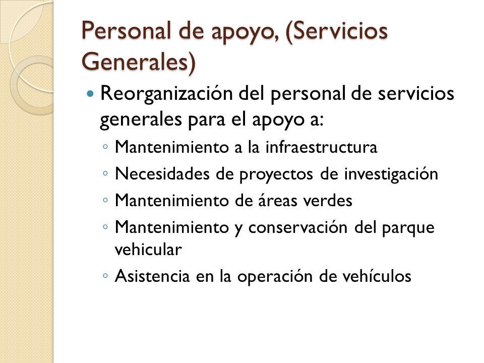 Personal de apoyo, (Servicios Generales) Reorganización del personal de servicios generales para el apoyo a: Mantenimiento a la infraestructura Necesi