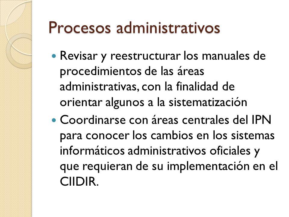 Procesos administrativos Revisar y reestructurar los manuales de procedimientos de las áreas administrativas, con la finalidad de orientar algunos a l