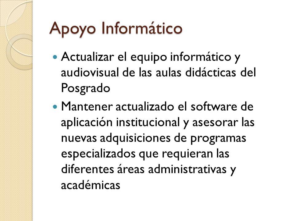 Apoyo Informático Actualizar el equipo informático y audiovisual de las aulas didácticas del Posgrado Mantener actualizado el software de aplicación i