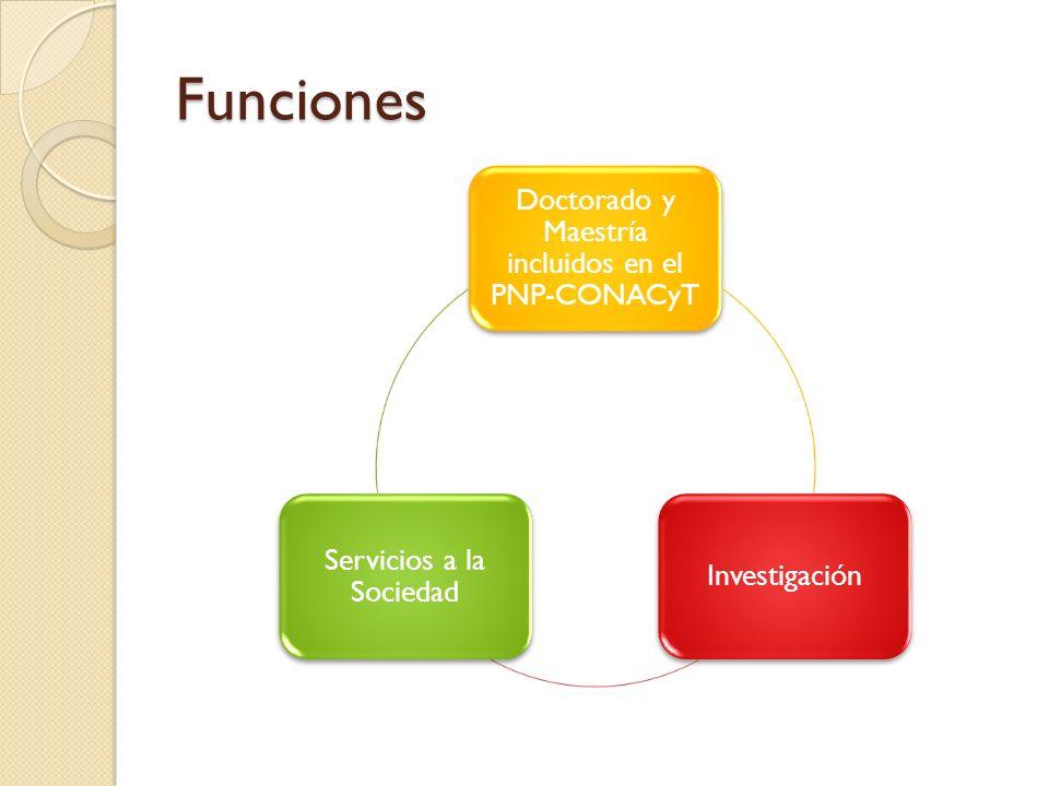 Funciones Doctorado y Maestría incluidos en el PNP-CONACyT Investigación Servicios a la Sociedad