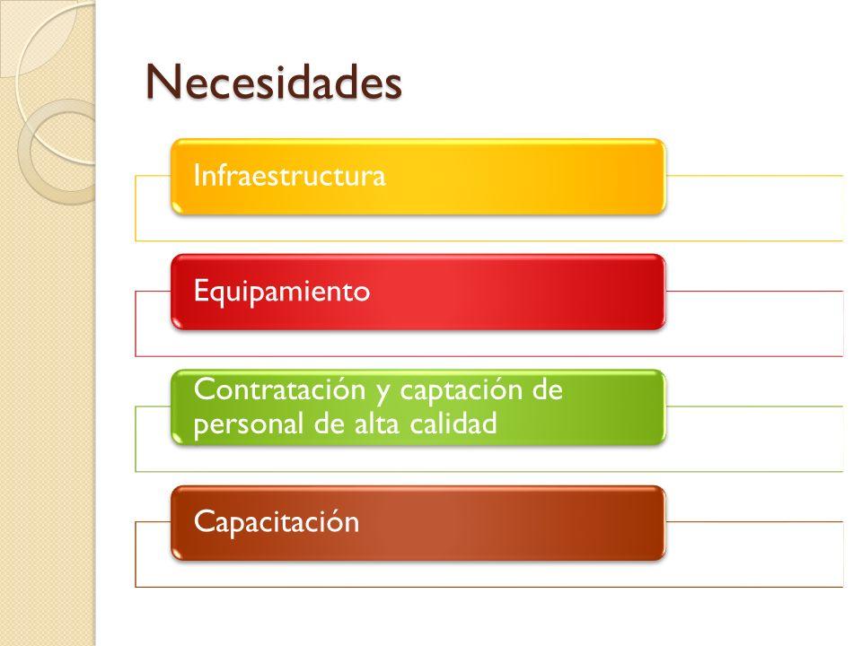 Necesidades InfraestructuraEquipamiento Contratación y captación de personal de alta calidad Capacitación