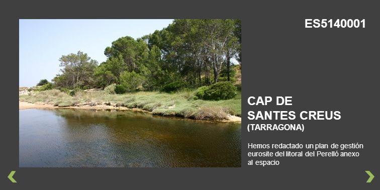 Hemos redactado un plan de gestión eurosite del litoral del Perelló anexo al espacio CAP DE SANTES CREUS (TARRAGONA) ES5140001