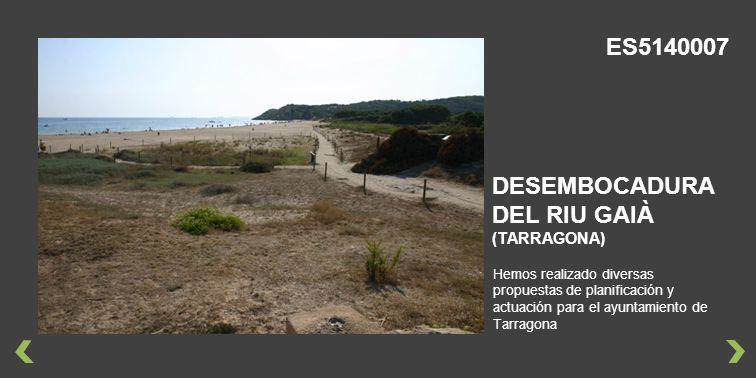 Hemos realizado diversas propuestas de planificación y actuación para el ayuntamiento de Tarragona DESEMBOCADURA DEL RIU GAIÀ (TARRAGONA) ES5140007