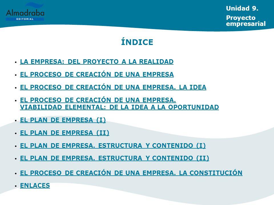 Unidad 9. Proyecto empresarial LA EMPRESA: DEL PROYECTO A LA REALIDAD EL PROCESO DE CREACIÓN DE UNA EMPRESA EL PROCESO DE CREACIÓN DE UNA EMPRESA. LA