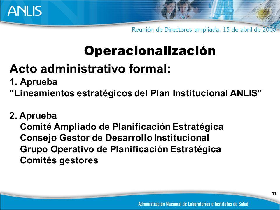 11 Acto administrativo formal: 1.Aprueba Lineamientos estratégicos del Plan Institucional ANLIS 2.