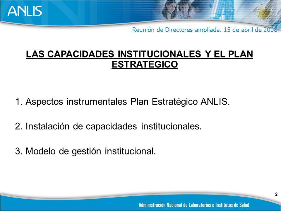 2 LAS CAPACIDADES INSTITUCIONALES Y EL PLAN ESTRATEGICO 1.Aspectos instrumentales Plan Estratégico ANLIS.