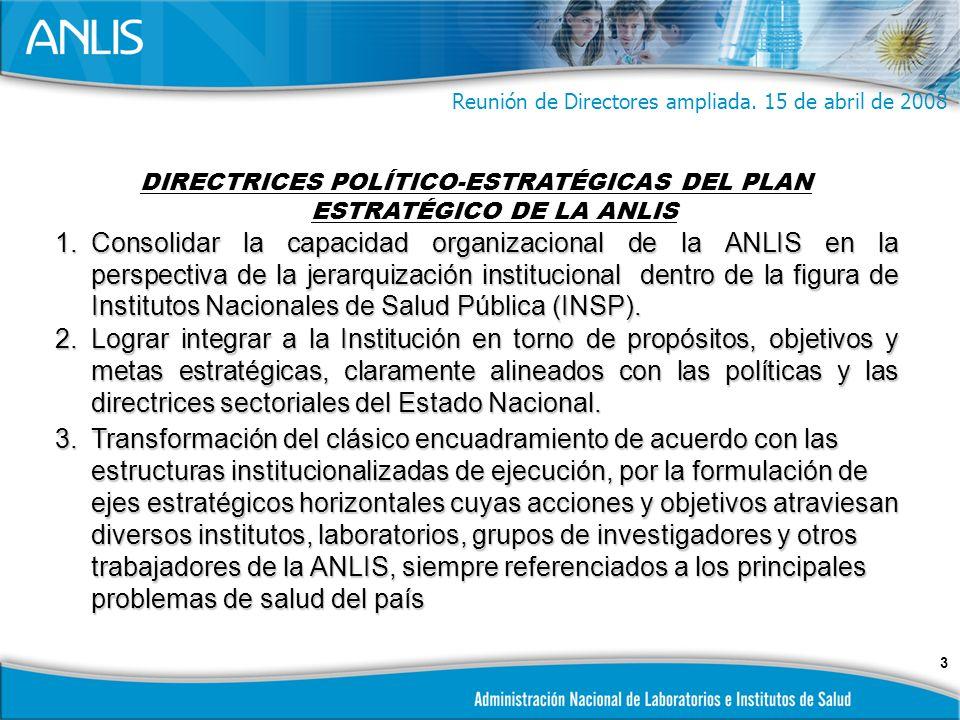 3 DIRECTRICES POLÍTICO-ESTRATÉGICAS DEL PLAN ESTRATÉGICO DE LA ANLIS 1.Consolidar la capacidad organizacional de la ANLIS en la perspectiva de la jerarquización institucional dentro de la figura de Institutos Nacionales de Salud Pública (INSP).