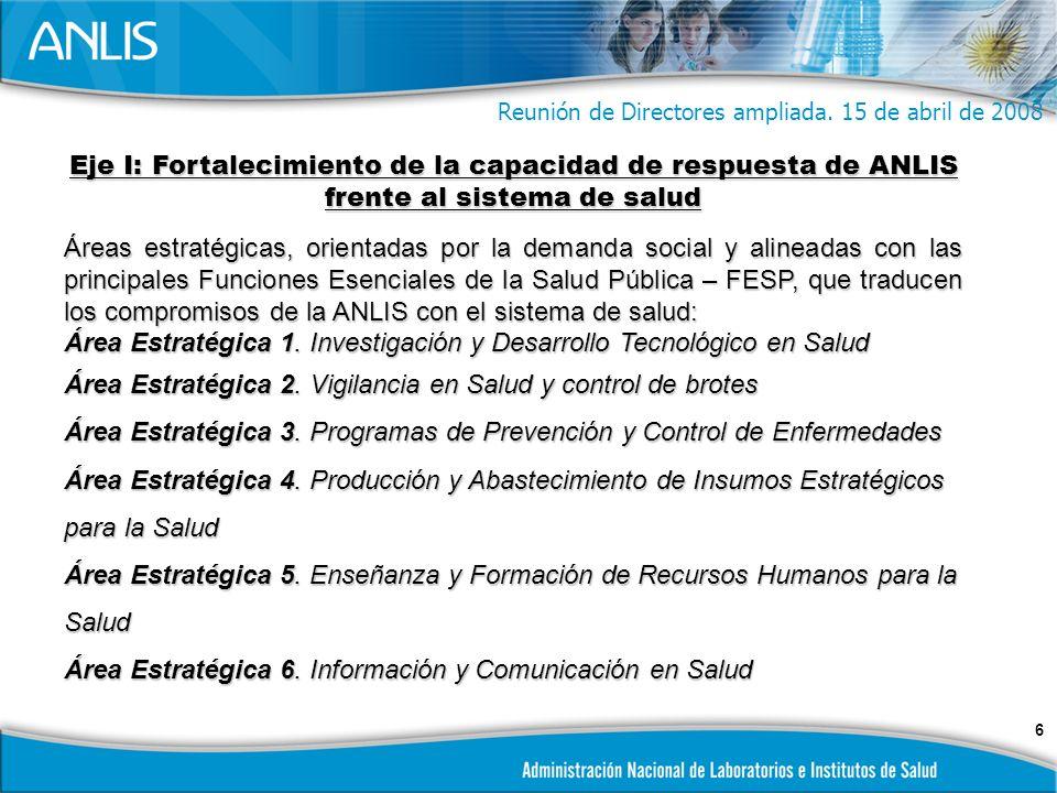 6 Eje I: Fortalecimiento de la capacidad de respuesta de ANLIS frente al sistema de salud Áreas estratégicas, orientadas por la demanda social y alineadas con las principales Funciones Esenciales de la Salud Pública – FESP, que traducen los compromisos de la ANLIS con el sistema de salud: Área Estratégica 1.