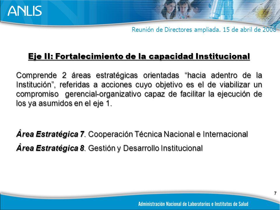 7 Eje II: Fortalecimiento de la capacidad Institucional Comprende 2 áreas estratégicas orientadas hacia adentro de la Institución, referidas a acciones cuyo objetivo es el de viabilizar un compromiso gerencial-organizativo capaz de facilitar la ejecución de los ya asumidos en el eje 1.