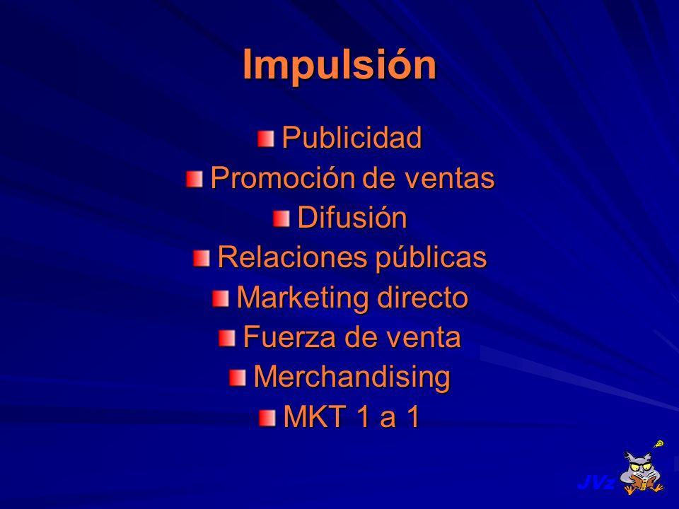Impulsión Publicidad Promoción de ventas Difusión Relaciones públicas Marketing directo Fuerza de venta Merchandising MKT 1 a 1 JVz