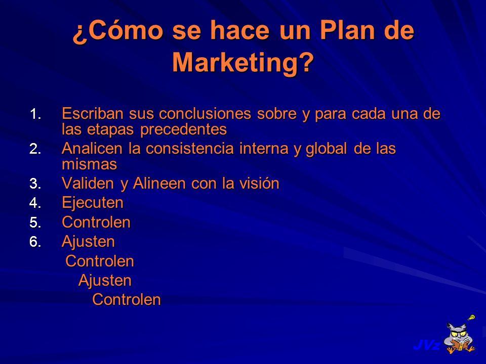 ¿Cómo se hace un Plan de Marketing? 1. Escriban sus conclusiones sobre y para cada una de las etapas precedentes 2. Analicen la consistencia interna y
