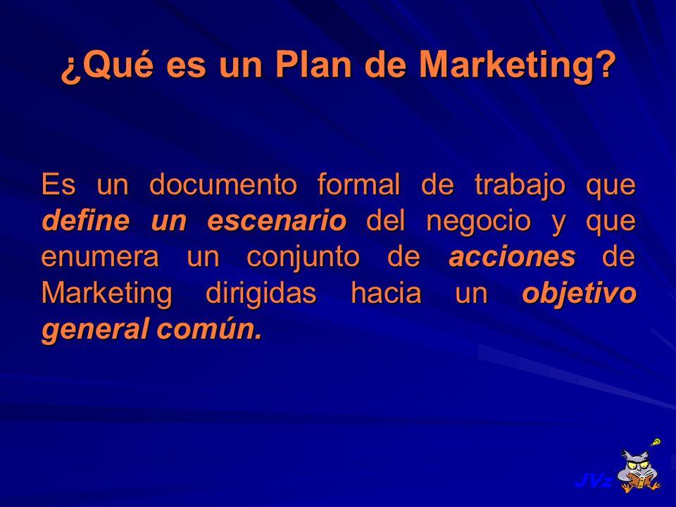 ¿Qué es un Plan de Marketing? Es un documento formal de trabajo que define un escenario del negocio y que enumera un conjunto de acciones de Marketing