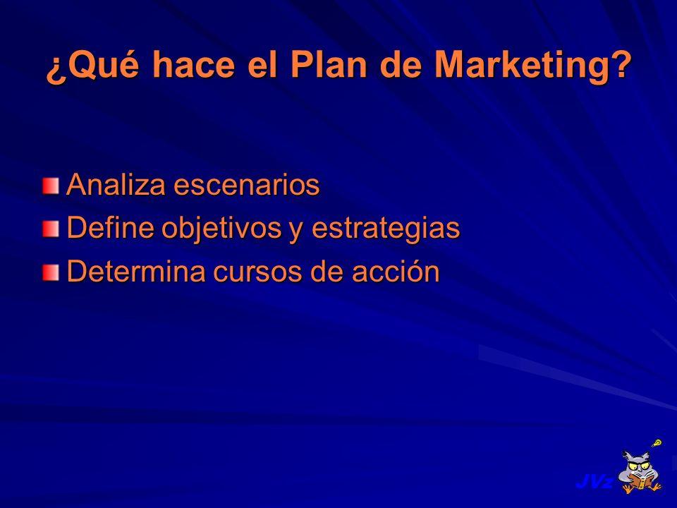 ¿Qué hace el Plan de Marketing? Analiza escenarios Define objetivos y estrategias Determina cursos de acción JVz