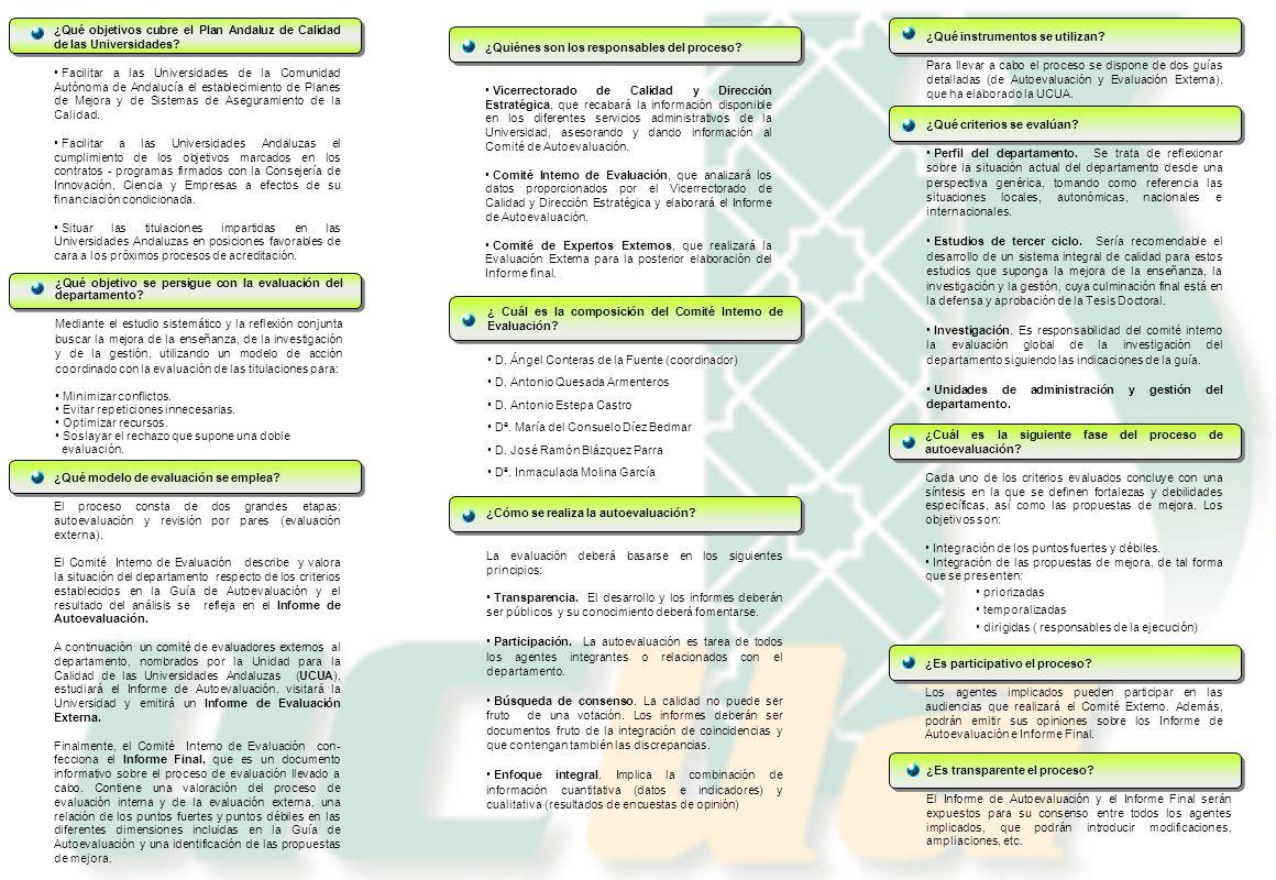¿Qué objetivos cubre el Plan Andaluz de Calidad de las Universidades? Facilitar a las Universidades de la Comunidad Autónoma de Andalucía el estableci