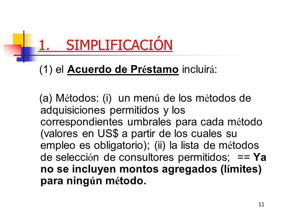 11 1.SIMPLIFICACIÓN (1) el Acuerdo de Pr é stamo incluir á : (a) M é todos: (i) un men ú de los m é todos de adquisiciones permitidos y los correspondientes umbrales para cada m é todo (valores en US$ a partir de los cuales su empleo es obligatorio); (ii) la lista de m é todos de selecci ó n de consultores permitidos; == Ya no se incluyen montos agregados (l í mites) para ning ú n m é todo.