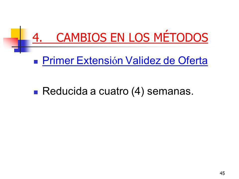 45 4.CAMBIOS EN LOS MÉTODOS Primer Extensi ó n Validez de Oferta Reducida a cuatro (4) semanas.
