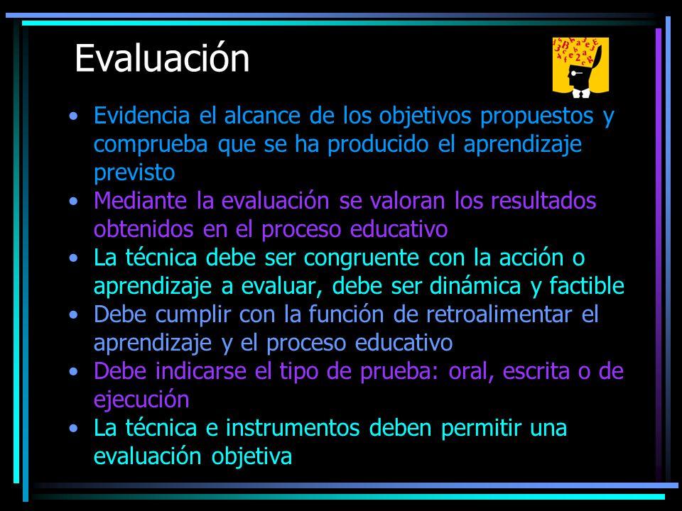 Evaluación Evidencia el alcance de los objetivos propuestos y comprueba que se ha producido el aprendizaje previsto Mediante la evaluación se valoran