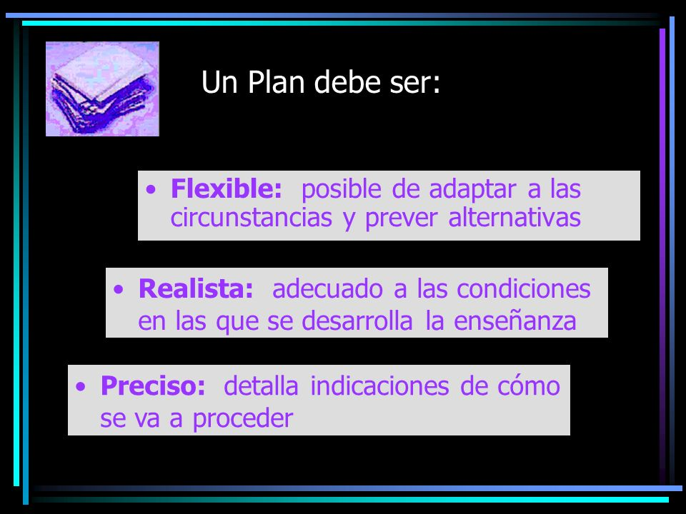 Un Plan debe ser: Flexible: posible de adaptar a las circunstancias y prever alternativas Preciso: detalla indicaciones de cómo se va a proceder Reali