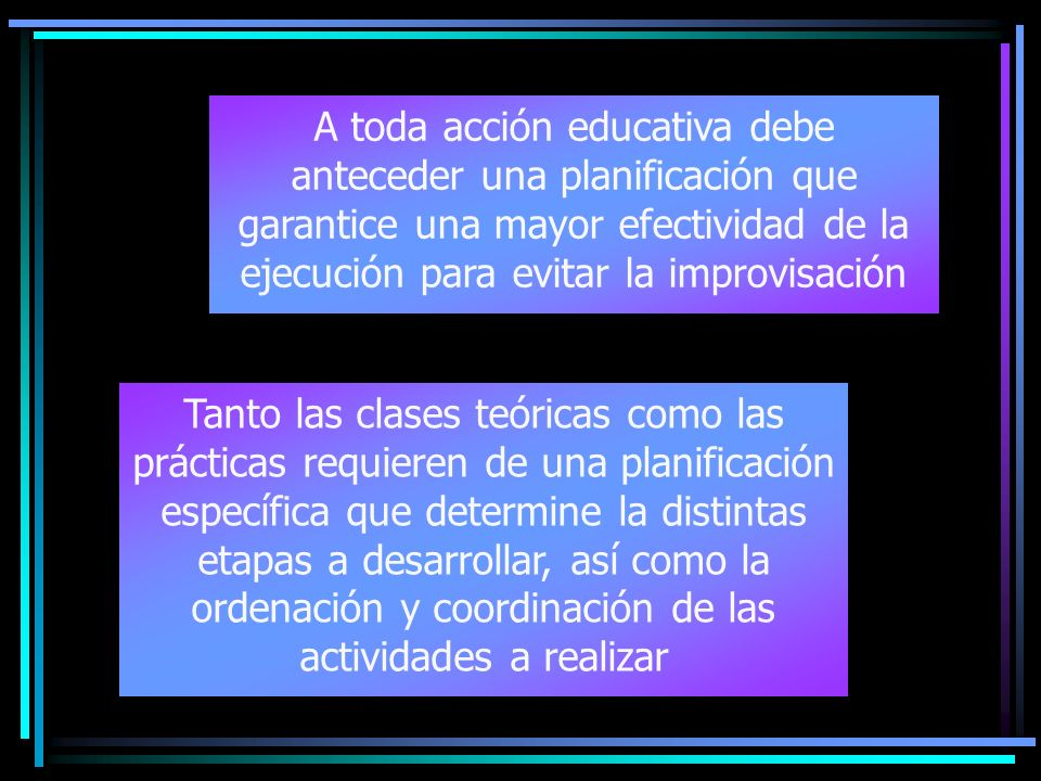 A toda acción educativa debe anteceder una planificación que garantice una mayor efectividad de la ejecución para evitar la improvisación Tanto las cl