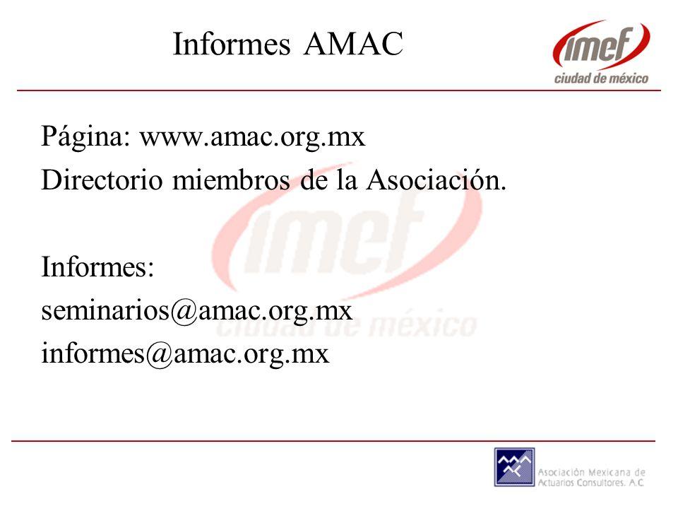 Informes AMAC Página: www.amac.org.mx Directorio miembros de la Asociación.