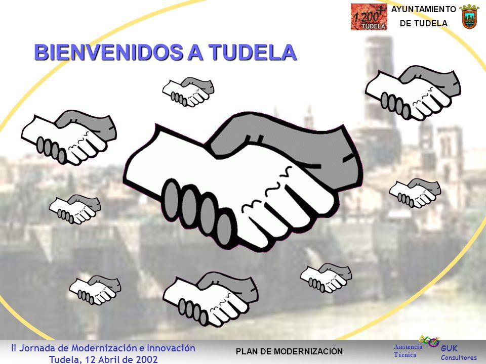 GUK Consultores AYUNTAMIENTO DE TUDELA Asistencia Técnica II Jornada de Modernización e Innovación Tudela, 12 Abril de 2002 PLAN DE MODERNIZACIÓN BIENVENIDOS A TUDELA