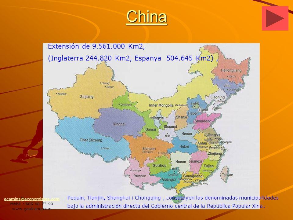 China Pequín, Tianjin, Shanghai i Chongqing, constituyen las denominadas municipalidades bajo la administración directa del Gobierno central de la República Popular Xina.