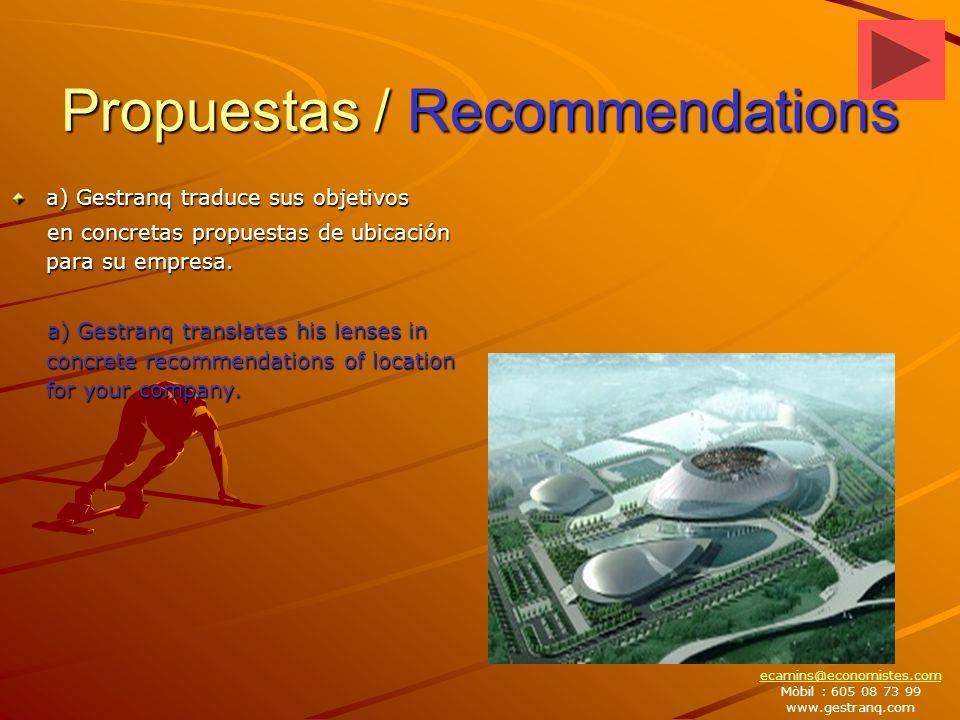Propuestas / Recommendations a) Gestranq traduce sus objetivos en concretas propuestas de ubicación para su empresa.