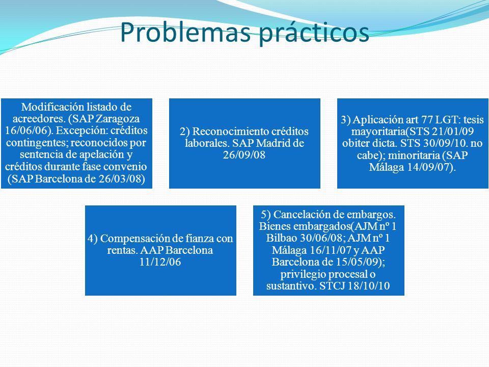 Problemas prácticos Modificación listado de acreedores. (SAP Zaragoza 16/06/06). Excepción: créditos contingentes; reconocidos por sentencia de apelac