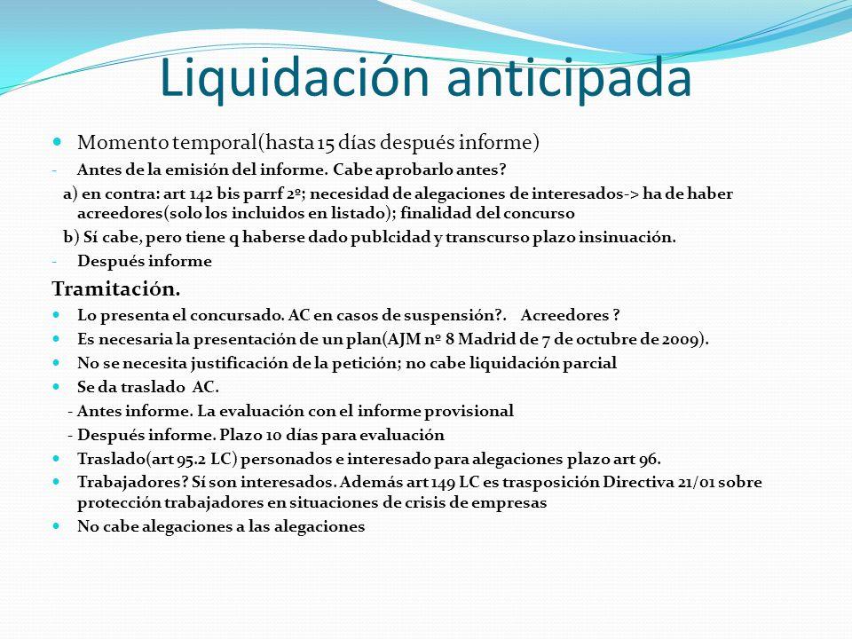 Liquidación anticipada Momento temporal(hasta 15 días después informe) - Antes de la emisión del informe. Cabe aprobarlo antes? a) en contra: art 142