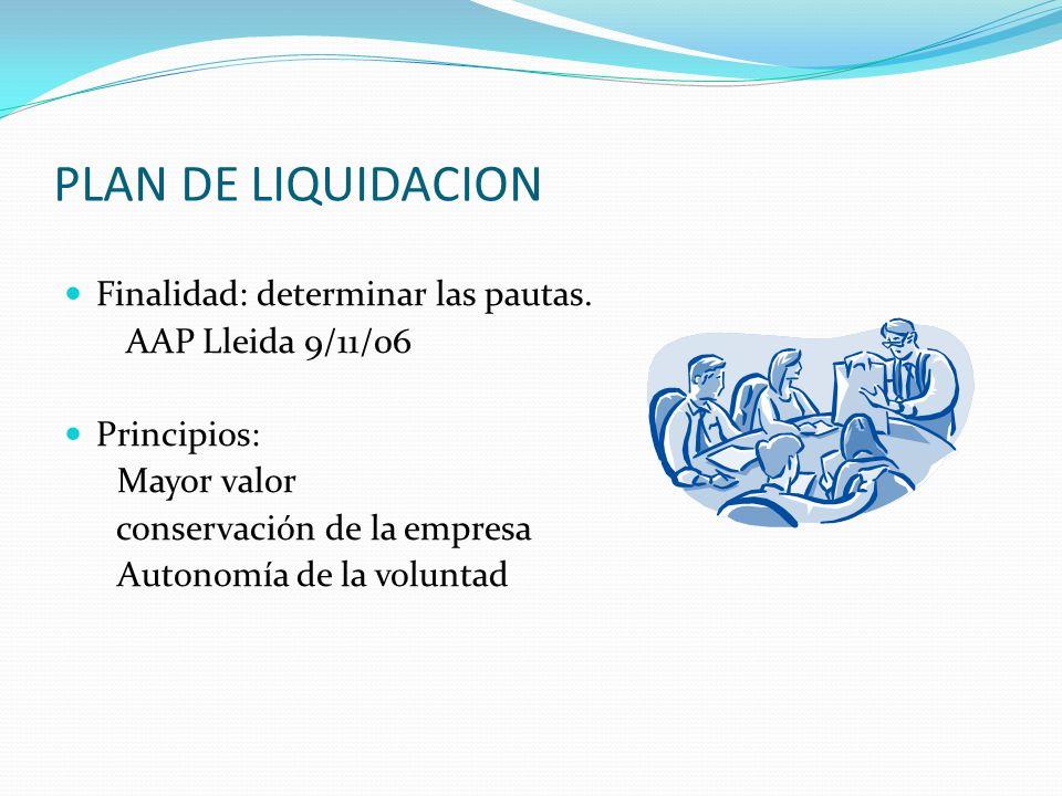 PLAN DE LIQUIDACION Finalidad: determinar las pautas. AAP Lleida 9/11/06 Principios: Mayor valor conservación de la empresa Autonomía de la voluntad