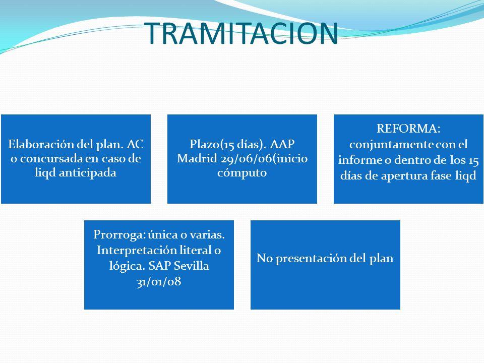 TRAMITACION Elaboración del plan. AC o concursada en caso de liqd anticipada Plazo(15 días). AAP Madrid 29/06/06(inicio cómputo REFORMA: conjuntamente