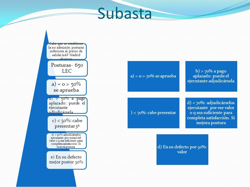 Subasta Cabe que se establezca la no admisión posturas inferiores al precio de salida(AAP Madrid 16/07/10 Posturas- 650 LEC a) = o > 50% se aprueba b)