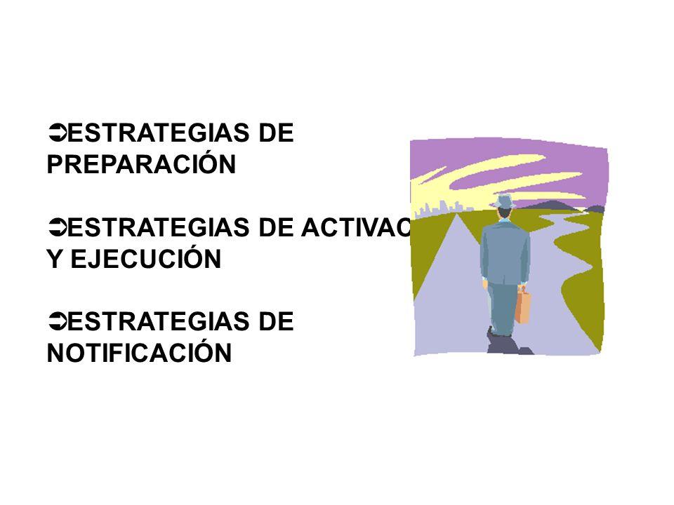 Ü ESTRATEGIAS DE PREPARACIÓN ESTRATEGIAS DE PREPARACIÓN Ü ESTRATEGIAS DE ACTIVACIÓN Y EJECUCIÓN ESTRATEGIAS DE ACTIVACIÓN Y EJECUCIÓN Ü ESTRATEGIAS DE