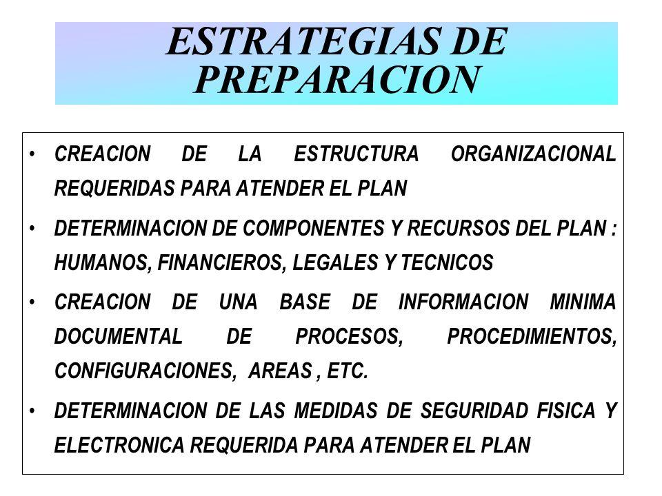 ESTRATEGIAS DE PREPARACION CREACION DE LA ESTRUCTURA ORGANIZACIONAL REQUERIDAS PARA ATENDER EL PLAN DETERMINACION DE COMPONENTES Y RECURSOS DEL PLAN :