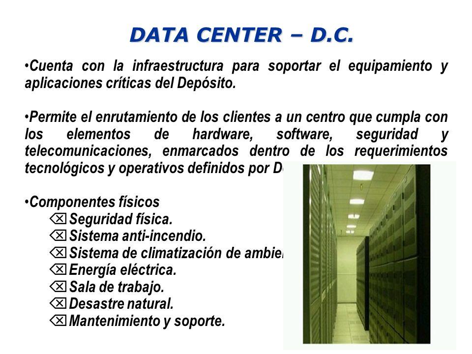 DATA CENTER – D.C. Cuenta con la infraestructura para soportar el equipamiento y aplicaciones críticas del Depósito. Cuenta con la infraestructura par