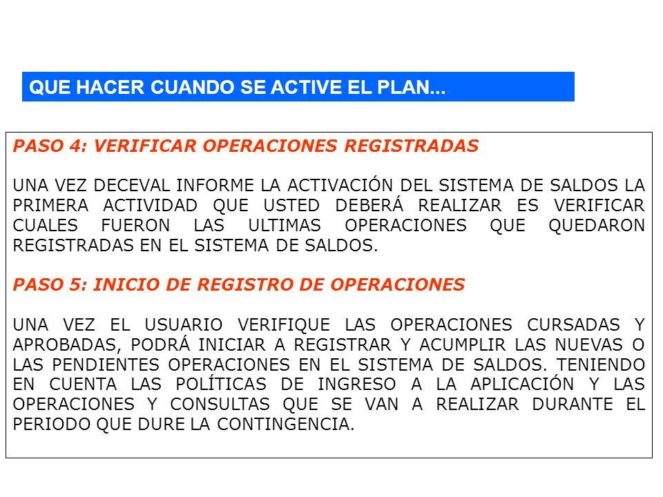 QUE HACER CUANDO SE ACTIVE EL PLAN... PASO 4: VERIFICAR OPERACIONES REGISTRADAS UNA VEZ DECEVAL INFORME LA ACTIVACIÓN DEL SISTEMA DE SALDOS LA PRIMERA