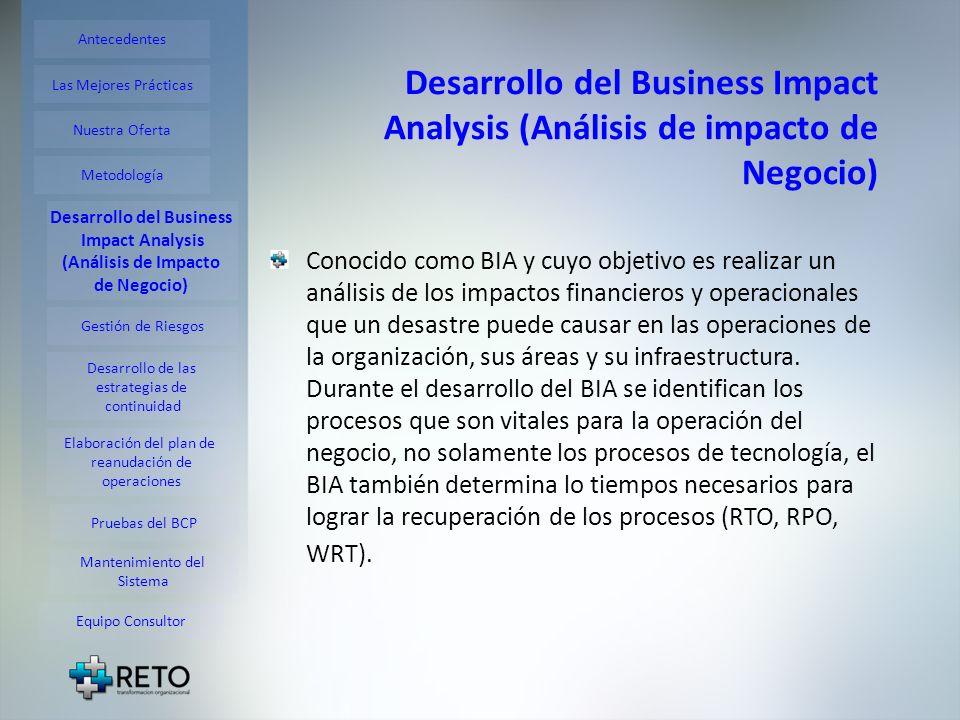 Desarrollo del Business Impact Analysis (Análisis de impacto de Negocio) Conocido como BIA y cuyo objetivo es realizar un análisis de los impactos fin