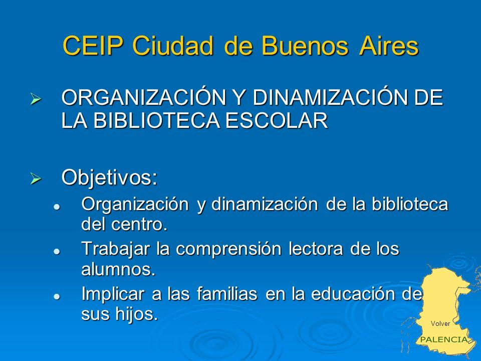 CEIP Ciudad de Buenos Aires ORGANIZACIÓN Y DINAMIZACIÓN DE LA BIBLIOTECA ESCOLAR ORGANIZACIÓN Y DINAMIZACIÓN DE LA BIBLIOTECA ESCOLAR Objetivos: Objetivos: Organización y dinamización de la biblioteca del centro.