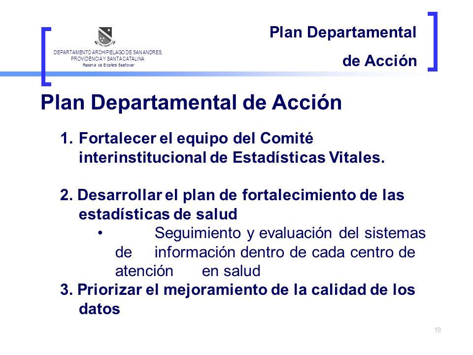 19 Plan Departamental de Acción 1.Fortalecer el equipo del Comité interinstitucional de Estadísticas Vitales. 2. Desarrollar el plan de fortalecimient
