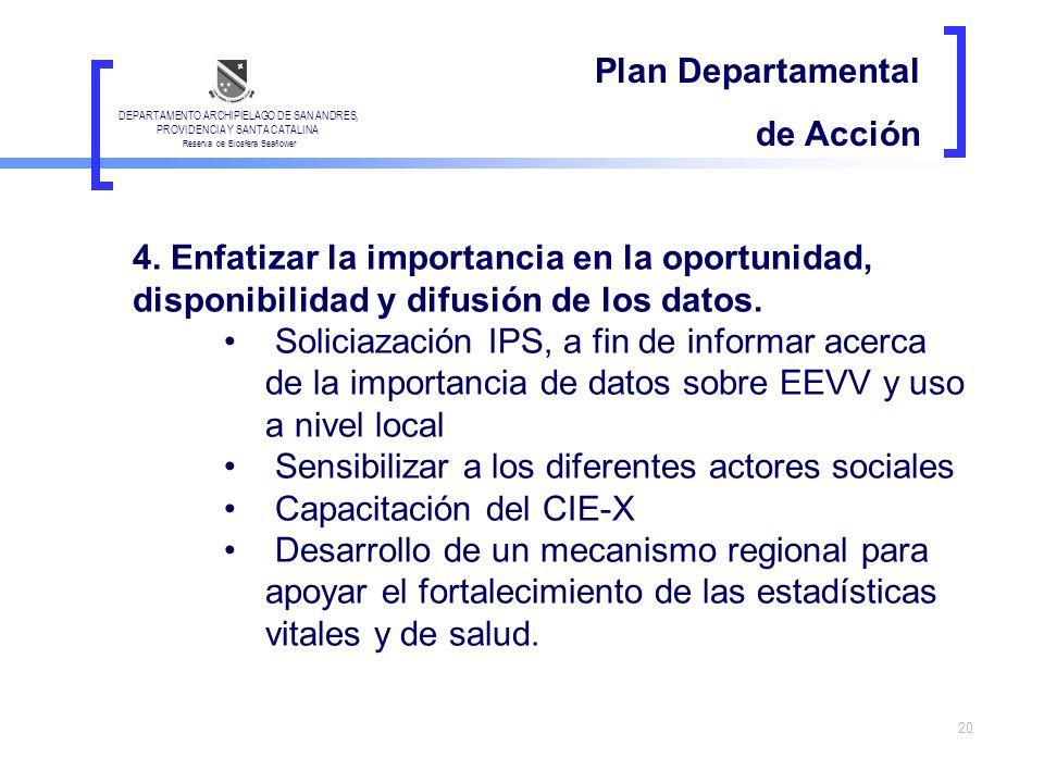 20 Plan Departamental de Acción 4. Enfatizar la importancia en la oportunidad, disponibilidad y difusión de los datos. Soliciazación IPS, a fin de inf