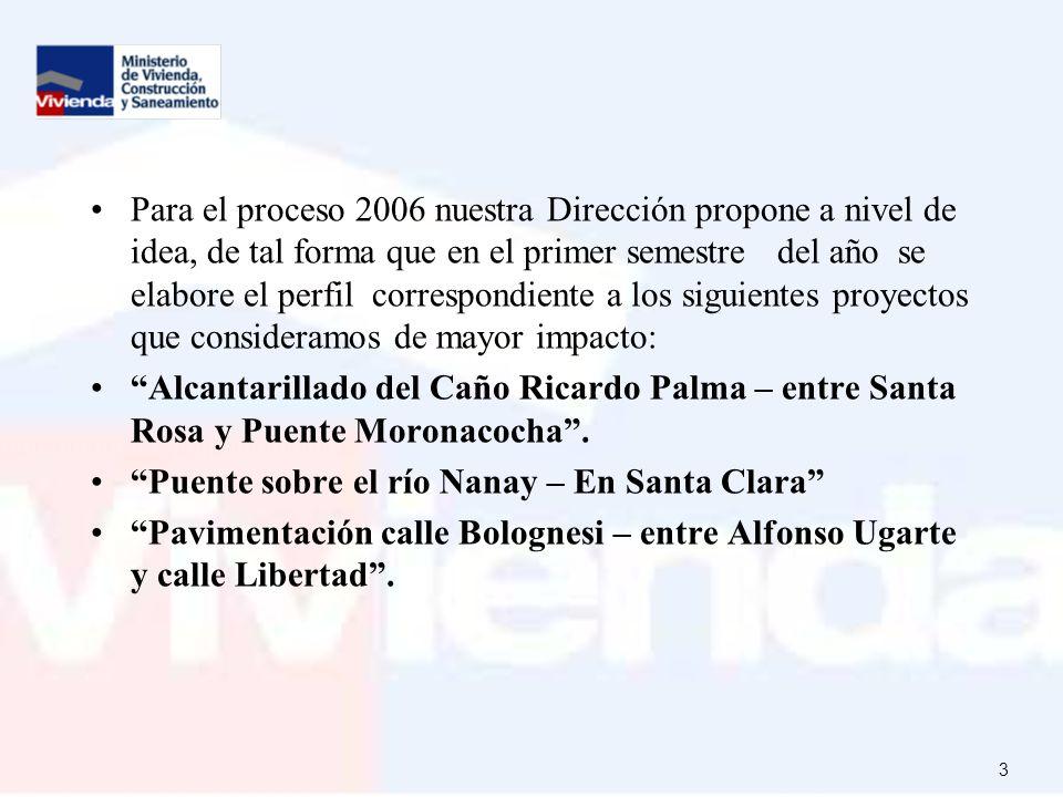 3 Para el proceso 2006 nuestra Dirección propone a nivel de idea, de tal forma que en el primer semestre del año se elabore el perfil correspondiente a los siguientes proyectos que consideramos de mayor impacto: Alcantarillado del Caño Ricardo Palma – entre Santa Rosa y Puente Moronacocha.