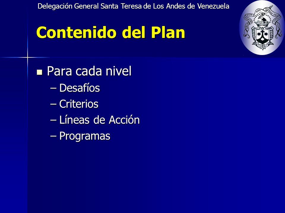 Delegación General Santa Teresa de Los Andes de Venezuela Contenido del Plan Para cada nivel Para cada nivel –Desafíos –Criterios –Líneas de Acción –Programas