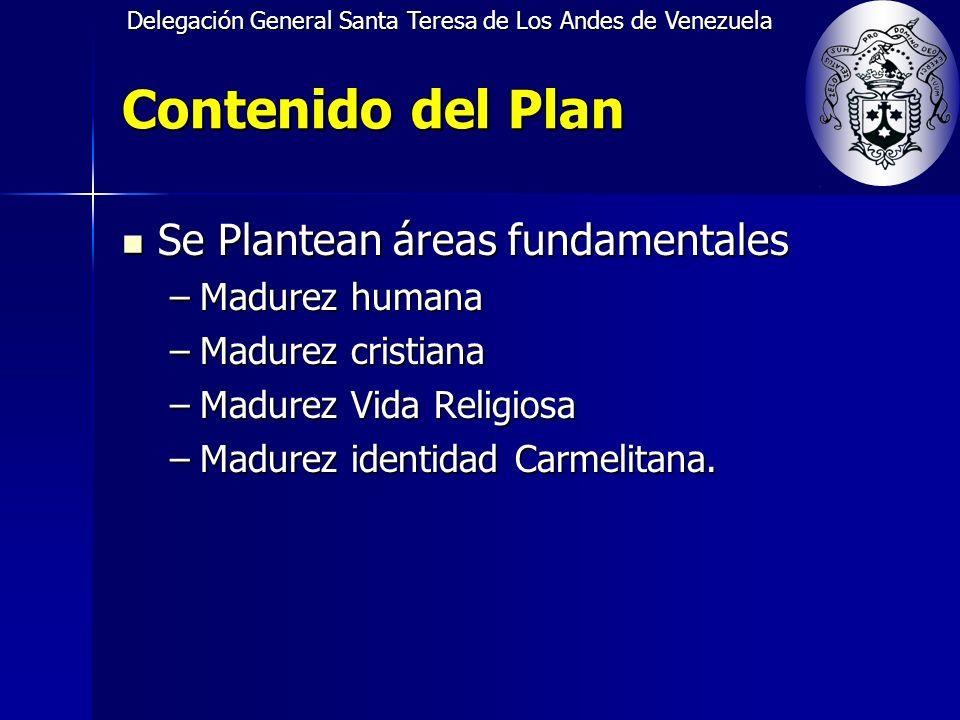 Delegación General Santa Teresa de Los Andes de Venezuela Contenido del Plan Se Plantean áreas fundamentales Se Plantean áreas fundamentales –Madurez humana –Madurez cristiana –Madurez Vida Religiosa –Madurez identidad Carmelitana.